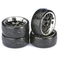 "AB2510040 - Absima Wheels set drift LP ""honeycomb / Profile A"" Black / Chrome 1:10 ( 4)"