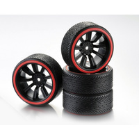 "AB2510048 Absima Wheel Set Drift 9-Spoke ""Profile B"" Rim black/Ring red 1:10 (4)"